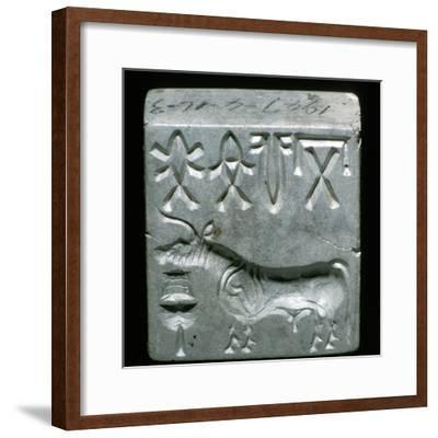 Steatite seal with Bull, Indus Valley, Mohenjo-Daro, 2500 - 2000 BC. Artist: Unknown-Unknown-Framed Giclee Print