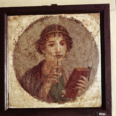 Portrait painting of Sappho, Pompeii, Italy. Artist: Unknown-Unknown-Framed Giclee Print