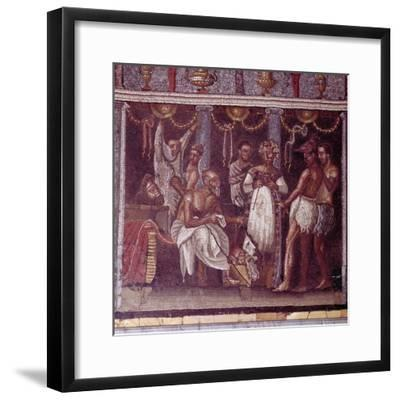 Roman mosaic of actors preparing for a play, Pompeii, Italy. Artist: Unknown-Unknown-Framed Giclee Print