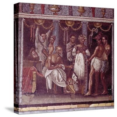 Roman mosaic of actors preparing for a play, Pompeii, Italy. Artist: Unknown-Unknown-Stretched Canvas Print