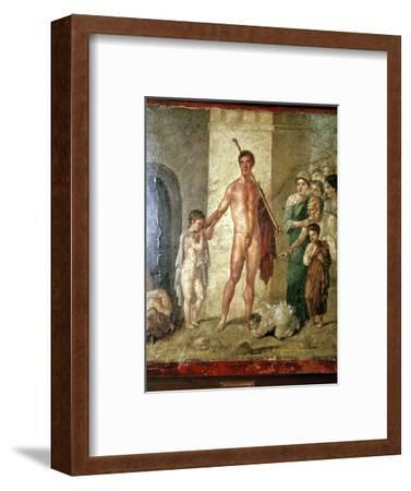 Roman wallpainting of Theseus after killing the Minotaur, Pompeii. Artist: Unknown-Unknown-Framed Giclee Print