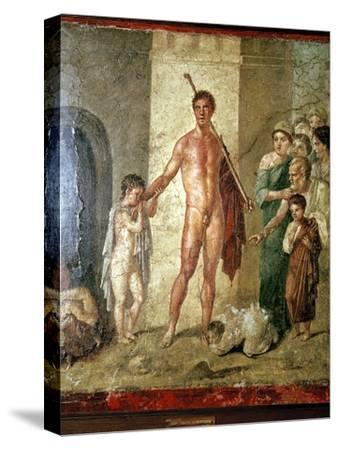 Roman wallpainting of Theseus after killing the Minotaur, Pompeii. Artist: Unknown-Unknown-Stretched Canvas Print