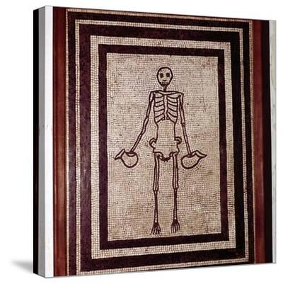 Roman mosaic of a skeleton, Pompeii, Italy. Artist: Unknown-Unknown-Stretched Canvas Print