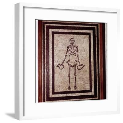 Roman mosaic of a skeleton, Pompeii, Italy. Artist: Unknown-Unknown-Framed Giclee Print
