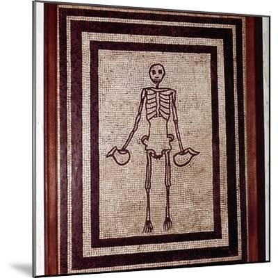 Roman mosaic of a skeleton, Pompeii, Italy. Artist: Unknown-Unknown-Mounted Giclee Print