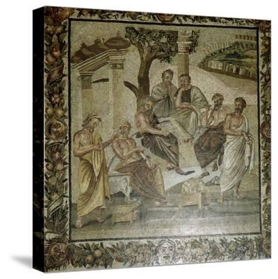 Roman mosaic of Plato and his school of philosophers, Pompeii, Italy. Artist: Unknown-Unknown-Stretched Canvas Print