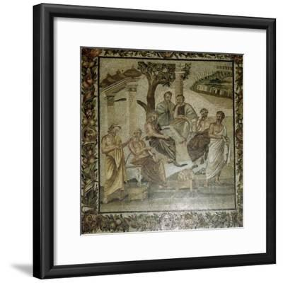 Roman mosaic of Plato and his school of philosophers, Pompeii, Italy. Artist: Unknown-Unknown-Framed Giclee Print