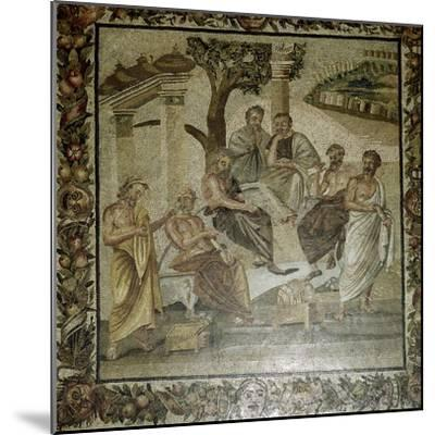 Roman mosaic of Plato and his school of philosophers, Pompeii, Italy. Artist: Unknown-Unknown-Mounted Giclee Print