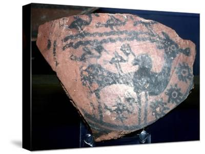 A sherd of pottery with humped bull and birds, Indus Valley, Harappa, c2600 BC. Artist: Unknown-Unknown-Stretched Canvas Print