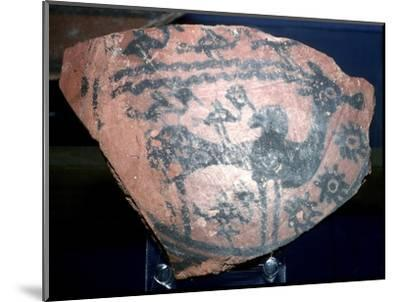 A sherd of pottery with humped bull and birds, Indus Valley, Harappa, c2600 BC. Artist: Unknown-Unknown-Mounted Giclee Print