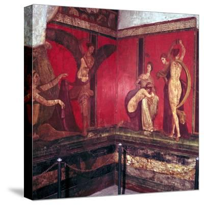 Roman wallpainting from Villa of the Mysteries, Pompeii, Italy, 1st century. Artist: Unknown-Unknown-Stretched Canvas Print