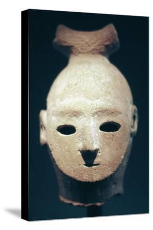 Head of a Haniwa tomb figure, Japanese, Kofun period, 6th century. Artist: Unknown-Unknown-Stretched Canvas Print