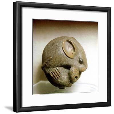 Netsuke carved in the form of a rat, one of the 12 animals of the Japanese zodiac. Artist: Unknown-Unknown-Framed Giclee Print