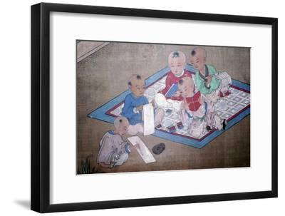 Children at play, Japanese painting, 18th century. Artist: Unknown-Unknown-Framed Giclee Print