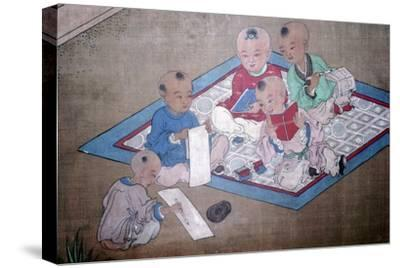 Children at play, Japanese painting, 18th century. Artist: Unknown-Unknown-Stretched Canvas Print