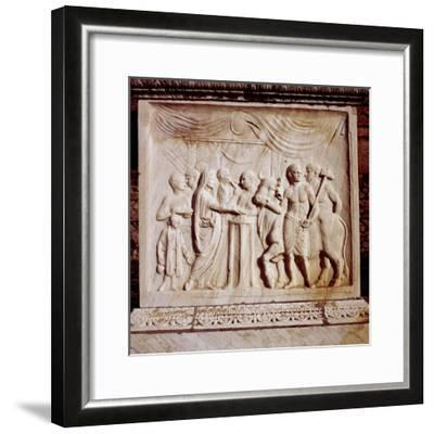 Sacrifice of an ox, Temple of Vespasian, Pompeii, Italy, 1st century. Artist: Unknown-Unknown-Framed Giclee Print