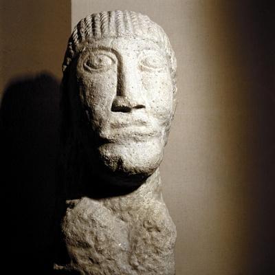 Celtic stone head, Salzburg, Austria, 1st century BC - 1st century. Artist: Unknown-Unknown-Framed Giclee Print