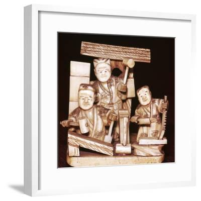 Carpenters, Japanese, c1860. Artist: Unknown-Unknown-Framed Giclee Print