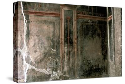 Wall decoration in a house in the Roman town of Herculaneum, Italy. Artist: Unknown-Unknown-Stretched Canvas Print
