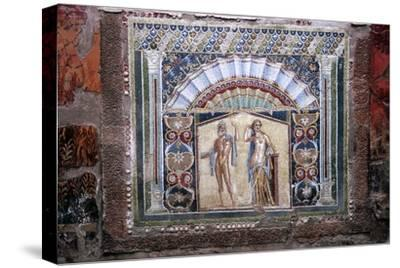 Roman mosaic of Neptune and Amphitrite, Herculaneum, Italy. Artist: Unknown-Unknown-Stretched Canvas Print