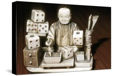 Dice painter, Japanese, c1860. Artist: Unknown-Unknown-Stretched Canvas Print