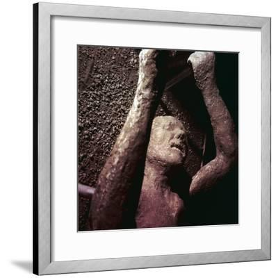 Plaster Cast of a victim of the eruption of Vesuvius at Pompeii, Italy. Artist: Unknown-Unknown-Framed Giclee Print