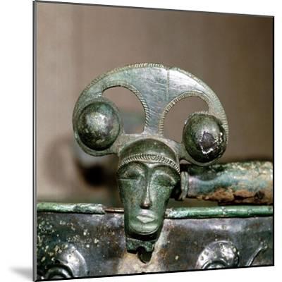 Celtic bronze head on bucket, Aylesford, Kent, England, c1st century BC. Artist: Unknown-Unknown-Mounted Giclee Print