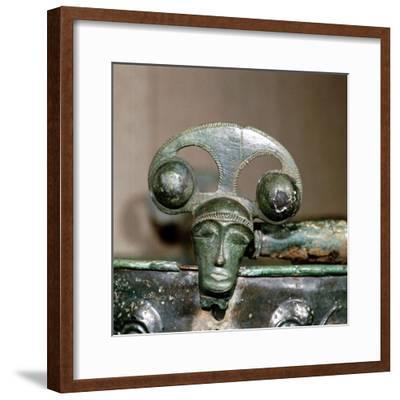 Celtic bronze head on bucket, Aylesford, Kent, England, c1st century BC. Artist: Unknown-Unknown-Framed Giclee Print