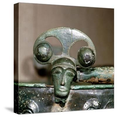 Celtic bronze head on bucket, Aylesford, Kent, England, c1st century BC. Artist: Unknown-Unknown-Stretched Canvas Print