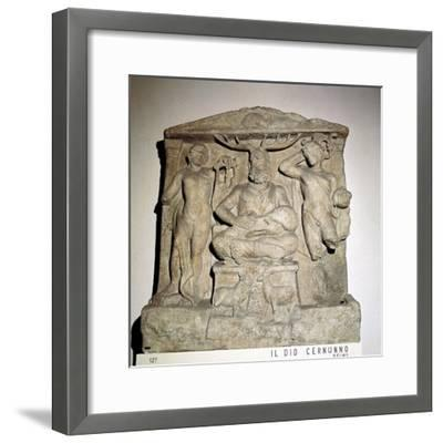 Cernunnos, Celtic horned god, Gallo-Roman relief, Reims, France. Artist: Unknown-Unknown-Framed Giclee Print