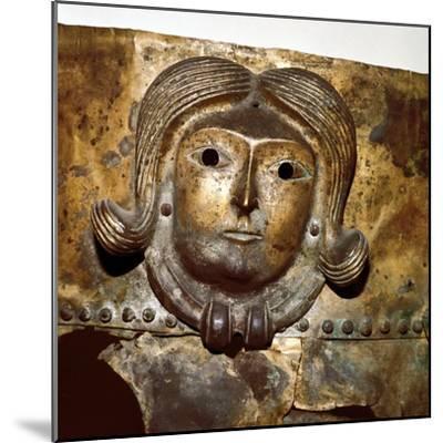 Celtic human head on Bronze cauldron, Rynkeby Bog, Denmark, 4th century BC. Artist: Unknown-Unknown-Mounted Giclee Print