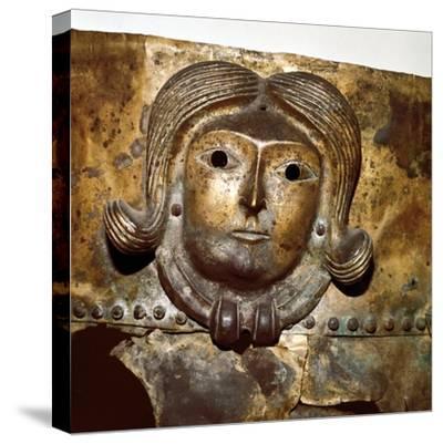 Celtic human head on Bronze cauldron, Rynkeby Bog, Denmark, 4th century BC. Artist: Unknown-Unknown-Stretched Canvas Print