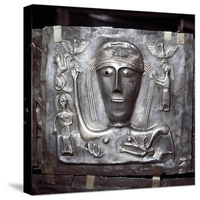 Gundestrup Cauldron, Celtic Goddess with eagles, Danish, c100 BC. Artist: Unknown-Unknown-Stretched Canvas Print