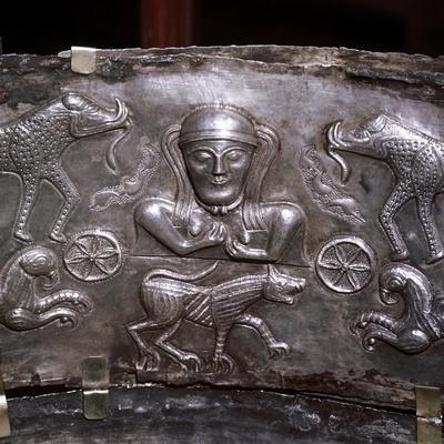 Gundestrup Cauldron, Celtic Goddess with elephants, Danish, c100 BC. Artist: Unknown-Unknown-Framed Giclee Print