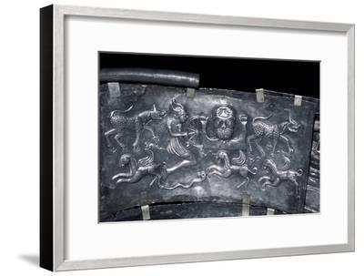 Detail of Gundestrup Cauldron, Celtic God Taranis, Danish, c100 BC. Artist: Unknown-Unknown-Framed Giclee Print