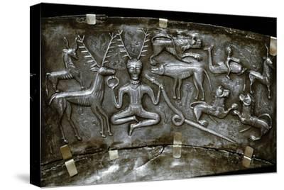 Detail of Gundestrup Cauldron, Celtic horned God Cernunnos, Danish, c100 BC. Artist: Unknown-Unknown-Stretched Canvas Print
