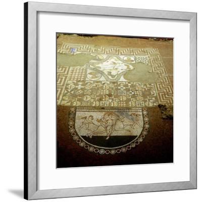 Floor mosaic showing Europa riding a bull, Lullingstone Roman Villa, Kent. Artist: Unknown-Unknown-Framed Giclee Print