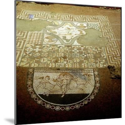 Floor mosaic showing Europa riding a bull, Lullingstone Roman Villa, Kent. Artist: Unknown-Unknown-Mounted Giclee Print