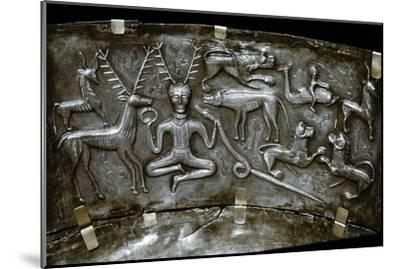 Detail of Gundestrup Cauldron, Celtic horned God Cernunnos, Danish, c100 BC. Artist: Unknown-Unknown-Mounted Giclee Print