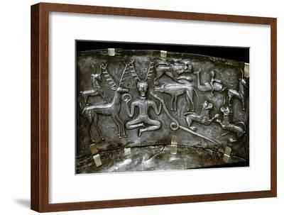 Detail of Gundestrup Cauldron, Celtic horned God Cernunnos, Danish, c100 BC. Artist: Unknown-Unknown-Framed Giclee Print