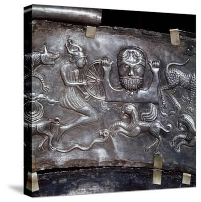 Gundestrup Cauldron, showing Celtic God Taranis with Wheel, Danish, c100 BC. Artist: Unknown-Unknown-Stretched Canvas Print