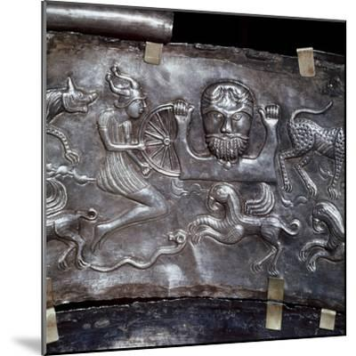 Gundestrup Cauldron, showing Celtic God Taranis with Wheel, Danish, c100 BC. Artist: Unknown-Unknown-Mounted Giclee Print
