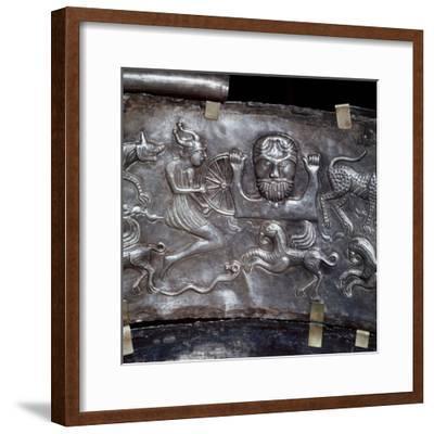 Gundestrup Cauldron, showing Celtic God Taranis with Wheel, Danish, c100 BC. Artist: Unknown-Unknown-Framed Giclee Print