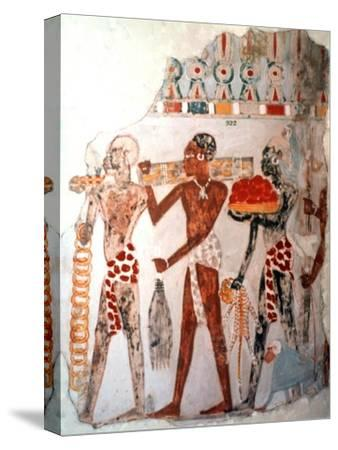 Africans bearing gold and other items, c1400 BC. Artist: Unknown-Unknown-Stretched Canvas Print