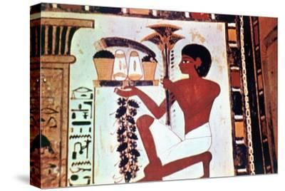 Wall Painting, Detail, Servant with Offerings, Chapel of Menna, Thebes Artist: Unknown-Unknown-Stretched Canvas Print