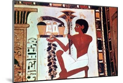 Wall Painting, Detail, Servant with Offerings, Chapel of Menna, Thebes Artist: Unknown-Unknown-Mounted Giclee Print