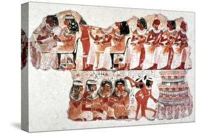 Banquet Scene, Wall Painting, Tomb of Nebamun, Thebes, 18th Dynasty. Artist: Unknown-Unknown-Stretched Canvas Print
