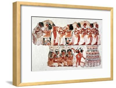 Banquet Scene, Wall Painting, Tomb of Nebamun, Thebes, 18th Dynasty. Artist: Unknown-Unknown-Framed Giclee Print