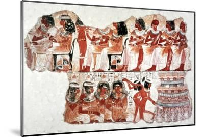 Banquet Scene, Wall Painting, Tomb of Nebamun, Thebes, 18th Dynasty. Artist: Unknown-Unknown-Mounted Giclee Print