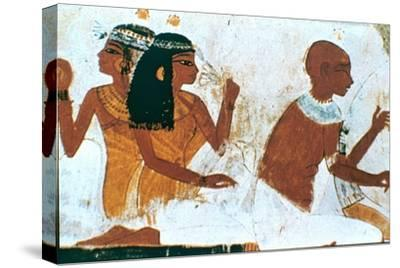 Wall Painting, Detail of The Deceased Couple, Tomb of Nakht, Thebes Artist: Unknown-Unknown-Stretched Canvas Print
